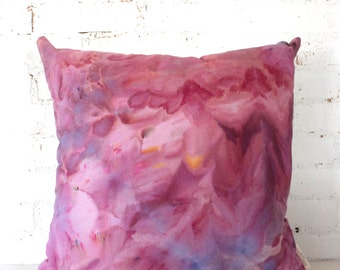 pillow watercolor berry fuchsia abstract hemp pillow cover 24x24 SALE