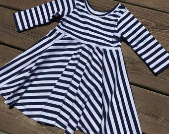 Navy stripe dress - navy blue stripe toddler dress - navy baby dress - blue striped dress - long sleeve dress - fall dress