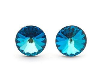 Bermuda Blue Swarovski Stud Earrings Rivoli Swarovski Studs Sterling Silver Earrings Post Earrings Bridal Earring Bridesmaid Gift Jewelry