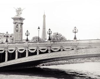 """Paris Art, Black and White Photography, Eiffel Tower, Fine Art Print, Paris Bridge, Seine, Paris Wall Decor, Paris Bridge Art """"Sur La Seine"""""""