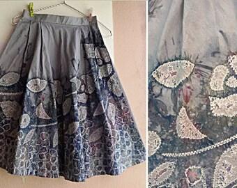 80s Tie Dyed Skirt - Shibori Cotton Skirt - Vintage Skirt - XS