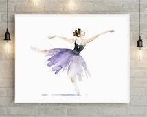 Ballet Art ballet dancer Watercolor Painting - Giclee art print - Ballerina Painting Wall Decor lilac dAncing woman Zen Art