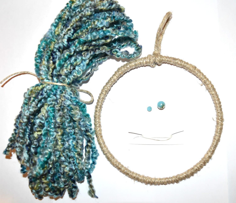 6 inch DIY Dream Catcher Kit Blue Dream Catcher Kit Wool