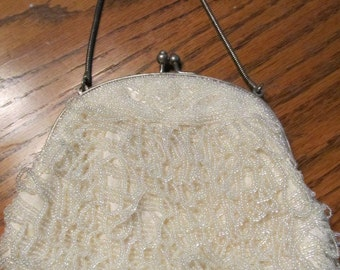 Lovely Antique/Vintage Ivory Beaded Purse/Handbag
