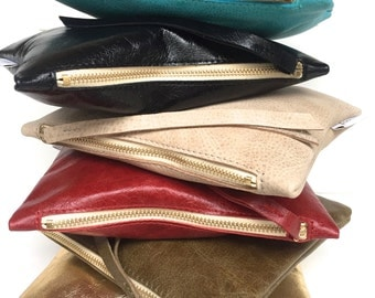 Leather pouch red, red leather purse, small leather bag red