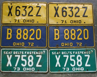 Matching Set Of Ohio License Plates 1970's, One Set Vintage Ohio License Plates