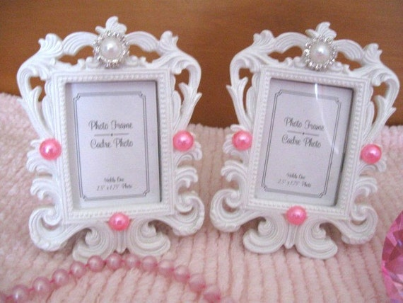 Bilderrahmen Verzieren Ornamente ~ Satz 2 schicke weiße sehr verzieren kleine Bilderrahmen rosa  weiß