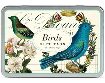 Cavallini & Co. Vintage Birds Glittered Gift Tags, 36 Tags in a Decorative Tin