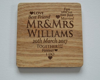 Personalised Engraved Wood Coasters, Personalised Wood Coasters, Custom Coasters, Wood Tiles Wedding Gift, House Gift, Anniversary