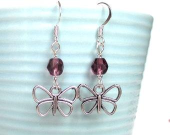 Custom birthstone earrings - Butterfly earrings - Personalised birthday gift - Birthstone jewelry - Upgrade to Sterling silver - UK