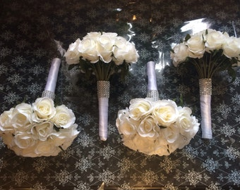 Wedding artificial ivory vintage rose Brides... Bridesmaids bouquets with crystals and diamante ribbon on stem with satin ribbon