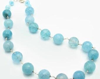 Aquamarine Faceted Necklace 14mm