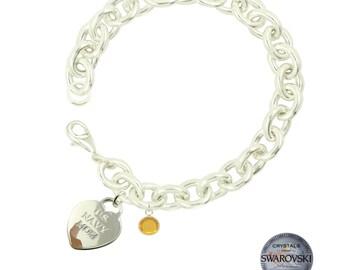 Navy Wife Swarovski Birthstone Bracelet (Choose Your Month)