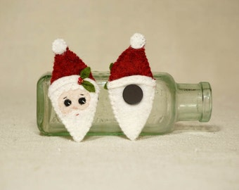 Christmas Santa, Mini Santa Magnet, Wool Felt Christmas Decoration *Ready to ship