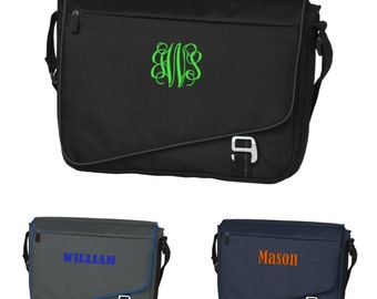 Monogrammed Laptop Bag Messenger Carry Case Personalized Monogram Name Embroidered Mens Computer Tote Black Navy Blue Gray Grey