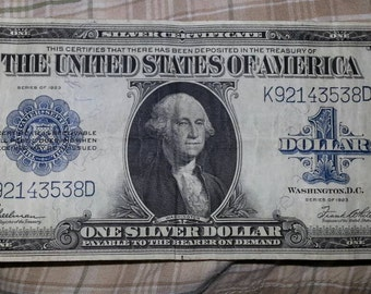1923 Silver Certificate Dollar bill MONEY