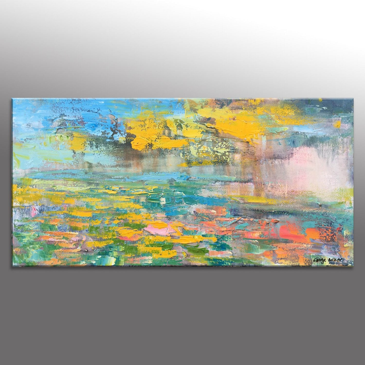 Abstract Oil Painting Wall Decor Bathroom Sign Large Art