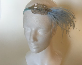 Blue 1920s headpiece, Gatsby headpiece, ostrich feathers hair piece baby blue gatsby inspired 1920s flapper girl ostrich feather ivory