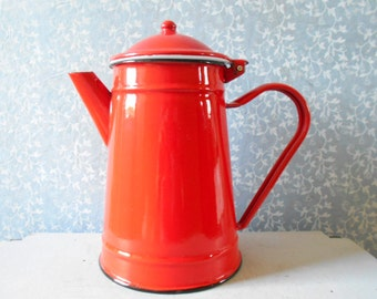 French Vintage Enamel Coffeepot , Red Kitchen Decor, French Enamelware ,  Enameled By Japy,