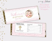 Pink Baptism Chocolate Bar Wrapper - Girl Pink & Gold Christening Favor Candy Bar Wrap - First Communion - first birthday - Digital File