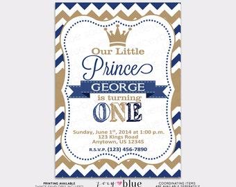 Little Prince Birthday Invitation Vertical Printable - 1st First Birthday- Navy Blue Gold Chevron Zig Zag Stripes - Digital File