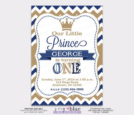 Little Prince Birthday Invitation Vertical Printable 1st First