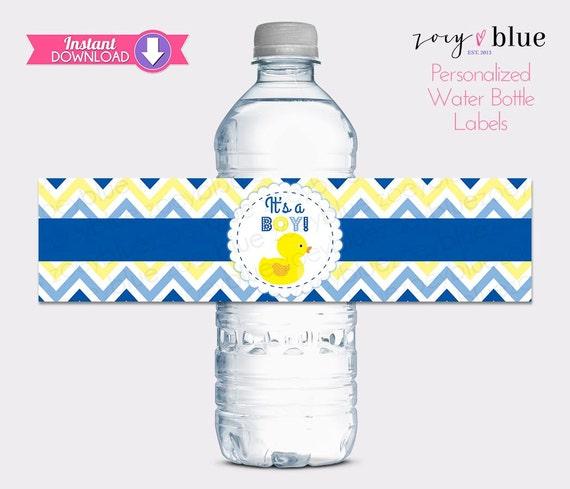 Rubber Ducky Water Bottle Labels Baby Shower Bottle Wraps Blue