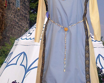 FREE SHIP r Medieval Renaissance SCA Garb Costume Cadet Ivory Tabard Kirtle Undergown 2pc Sdlacg Sz Flex lxl