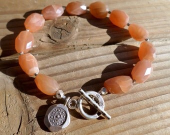 Peach Moonstone Bracelet and Hill Tribe Silver, Moonstone Nugget Bracelet, Artisan Bracelet, Artisan Style