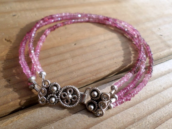 Pink Tourmaline and Sterling Silver - Triple Strand Bracelet