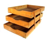 Wood office. Vintage office. Home office organization. Wood tray. Desk tray. Paper tray. In and out 3 tier office tray.