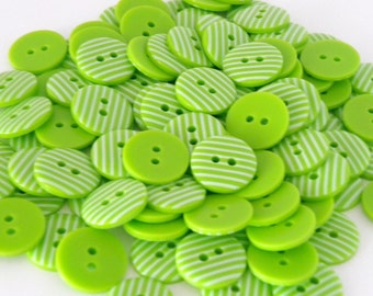 10 x 15mm Lime Green Stripe Buttons