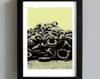 Worn tyres screenprint - industrial art print, urban art print, city wall art