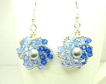 Flat spiral earrings, swarovski earrings, blue earrings, sapphire swarovski, pearl earrings, swarovski crystal, ER014