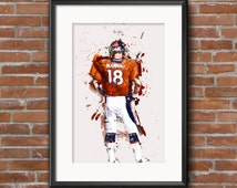 PRINT - Peyton Manning Denver Broncos 18 - Denver Broncos Illustration Artwork - Colorado- NFL Print - Retiring - Boyfriend Dad Brother Gift