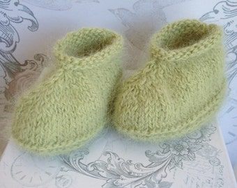 Angora Baby Booties, Light Green Booties, Handknit Baby Booties, New Baby Shower Gift, New Baby Gift, Boy baby Booties, Newborn Girl Booties