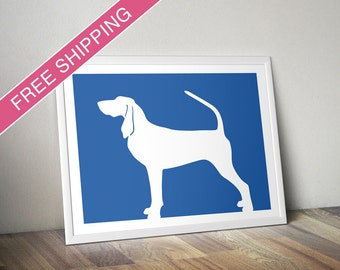 Black and Tan Coonhound Print - Black and Tan Coonhound Silhouette, dog art, modern dog home decor
