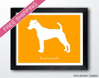 Personalized Jack Russell Silhouette Print with Custom Name