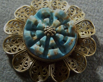 Vintage Silver Tone Faux Turquoise Bold Pin Brooch Jewelry Art Deco Style **RL