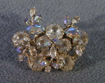 Vintage Aurora Borealis and Clear Rhinestone Pin Brooch Jewelry Art Deco Style **RL