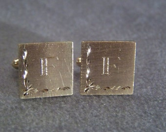 Vintage Yellow Gold Tone fancy etch cuff links W    **RL