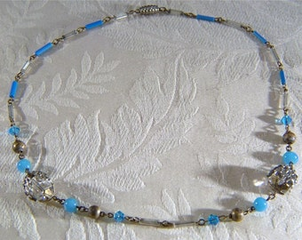 """Vintage Blue Big Faceted Glass Bead 18"""" Necklace Jewelry Art Deco Style **RL"""