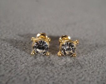Vintage Yellow Gold Tone Earring Set with Square Faceted Clear Rhinestone Post Style Bright and Shiny     KW74
