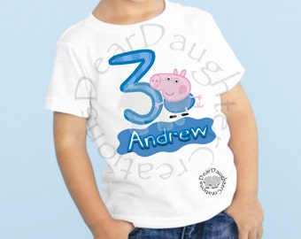 Boys Peppa Pig/George Pig 3rd Birthday Shirt Fabric iron-on transfer image.