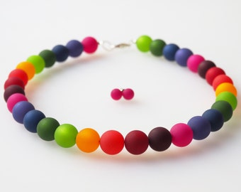 rainbow necklace jewellry set colorful