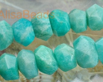 Natural Amazonite,faceted nugget,10x13mm-12x18mm,beads,15.5 inches