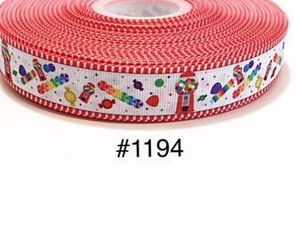 "3 or 5 yards - 7/8"" Gumball Machine and Candy Polka Dot on White Grosgrain Ribbon Hair bow"