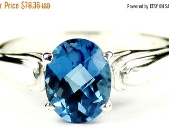 Valentines Sale 30% Off, SR058, 9x7mm London Blue Topaz, 925 Sterling Silver Ring