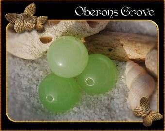 4 milky green Sea Opal Beads 12mm