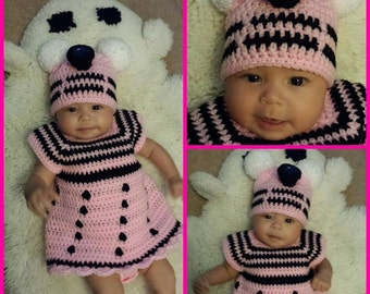 Crochet Dr. Who Dalek inspired baby dress and hat set